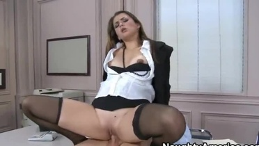 Beauty with hot booty taking part in hardcore adult video in office