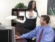 Boss with big tits eats sweet erect dong right in the office!