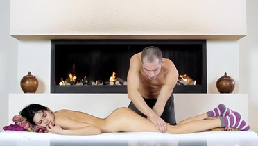 Massage makes a super hot brunette slut excited