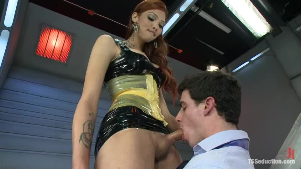 Redhead Tranny Is Pleasing Tylar's Asshole