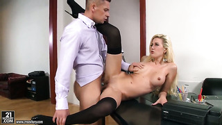 Busty boss is getting licked