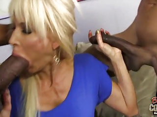 Two blacks fuck perfect white granny Erica