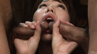 Threesome with a  cumshot Asian