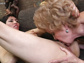 Four old and young lesbians fuck each other