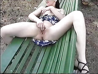 Polish brunette girl Monika flash and masturbate in public