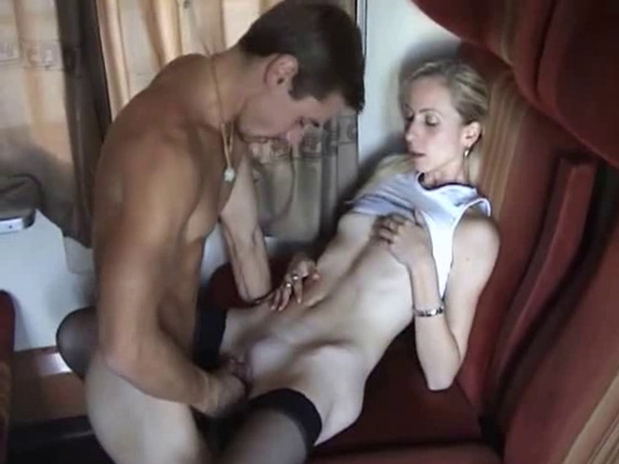 A young man fucks his mother on a train - Mature porn
