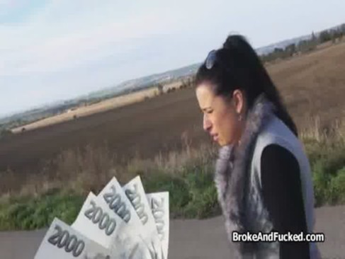 Big tits outdoor anal for cash