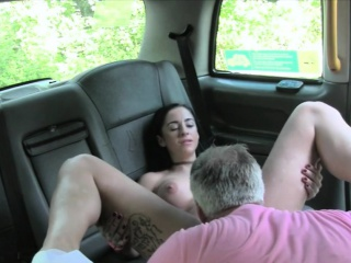 Big tits passenger gets her tight ass banged in the cab