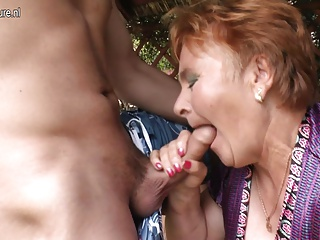 Young boy tastes old nympho granny