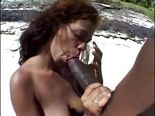 Latin girl sex on the beach with BBC