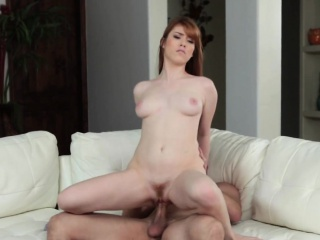 Redhead stepdaughter sucks and fucks cock