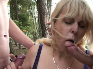 Busty blonde granny double penetration on beach