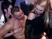 Party cuties fucking for the first time on camera