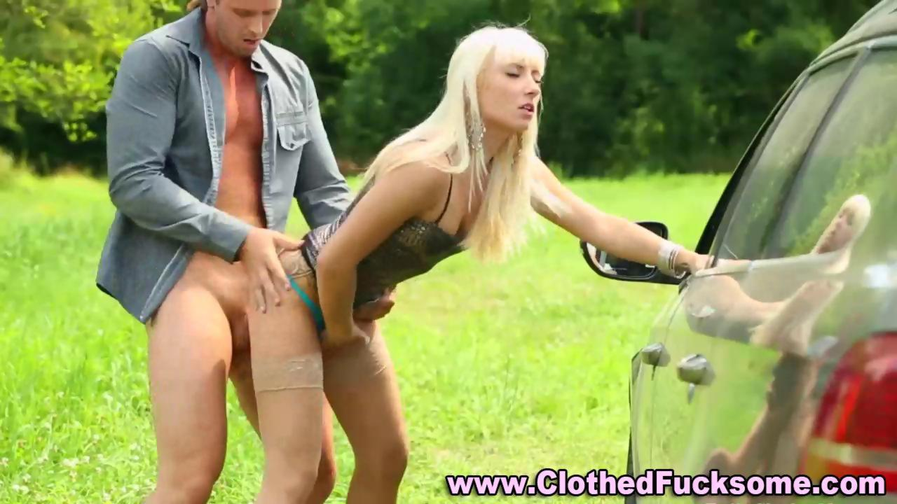 Glamour blonde fucking and sucking outdoors