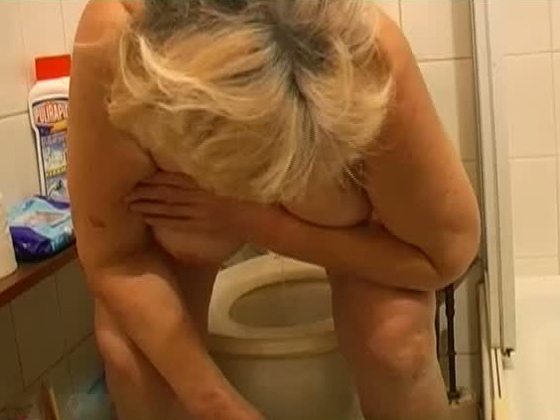 Fat blonde granny takes a piss before giving lesbian show with her GF - Grannies porn