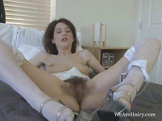 Tiffanny pleasures her juicy hairy pussy