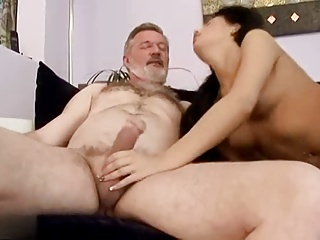 Sexy brunette fucks a old man