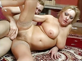 Eldery mom with hairy cunt & saggy tits & guy