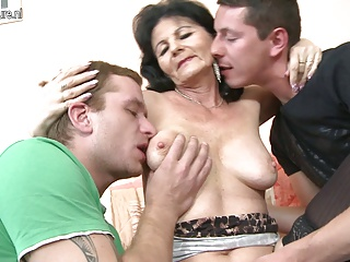 HOT granny fucking two young guys at once