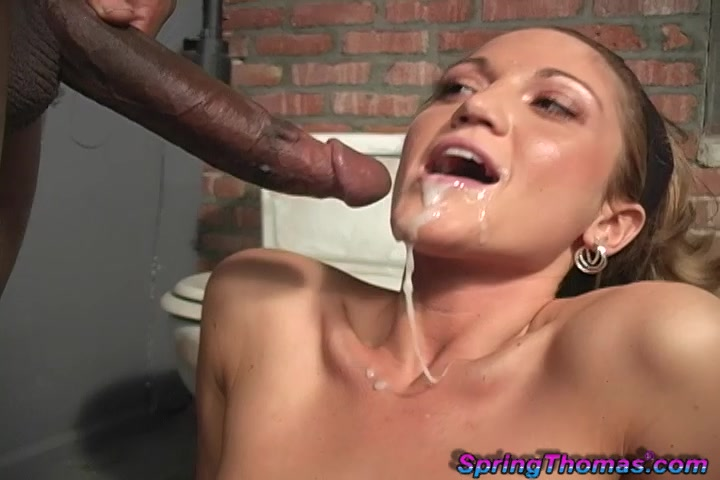 Petite White Chick Gets Spit Roasted By Blacks In A Toilet