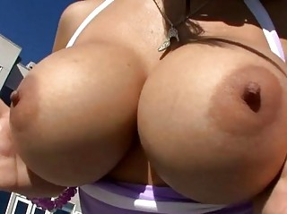 Busty girl sucks big dick