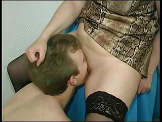 Milf makes boy lick pussy