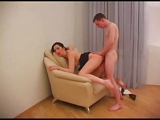Milf in glasses with young man
