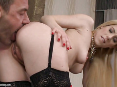Blonde Nesty cant stop sucking in steamy