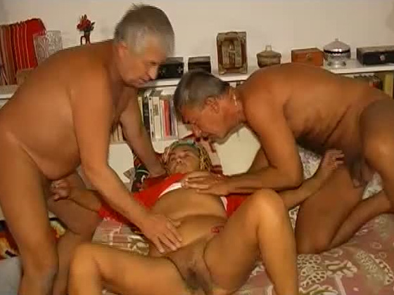 Wicked threesome with old guys and ugly obese granny - Grannies porn