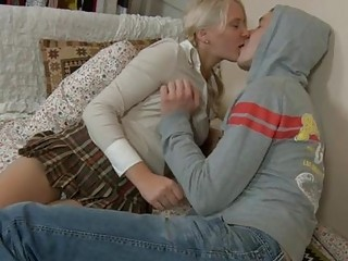 Lustful teen enjoys mature cock