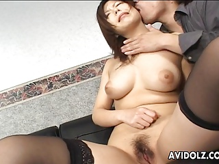Sensational Japanese chick with two men