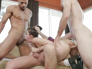 Horny young Luna plays with 5 huge sausages