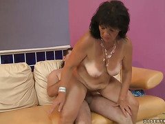 Brunette Helena May with juicy boobs does