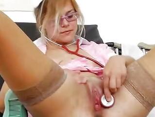 Blonde head practical nurse masturbates her pussy