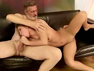 Old man fucks naughty blonde pretty hard