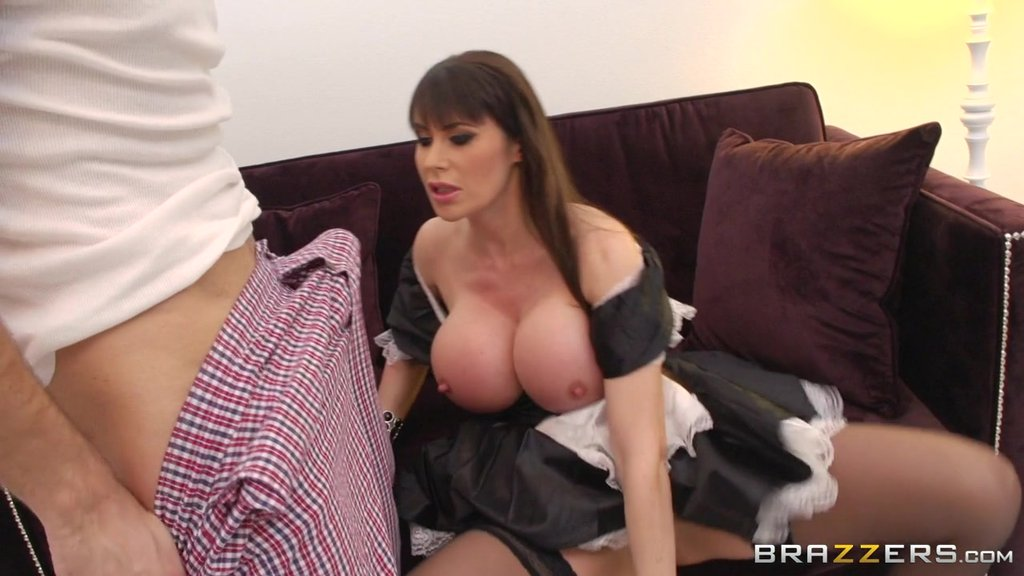 Brunette Hottie In A Maid Uniform Gets A Big Cumshot In Her Mouth