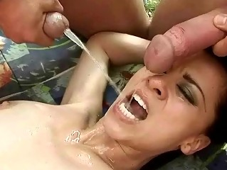Three guys fucking and pissing on hot girl outdoor