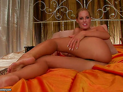 Blonde Cara toying her snatch