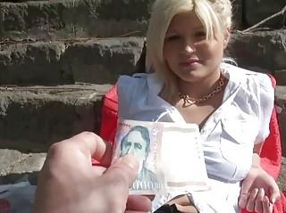 Czech amateur girl fucked in public for money