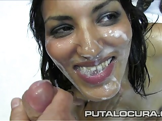 PUTA LOCURA Gorgeous Amateur Teen Latina gets a Bukkake