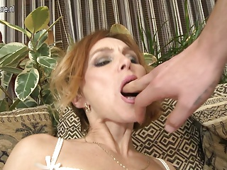 Hot MILF fucking and sucking not her son