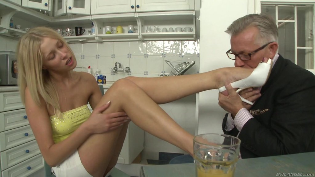 Delightful Foot Fetish Blonde In Miniskirt Performing Her Lovely Teases In The Kitchen