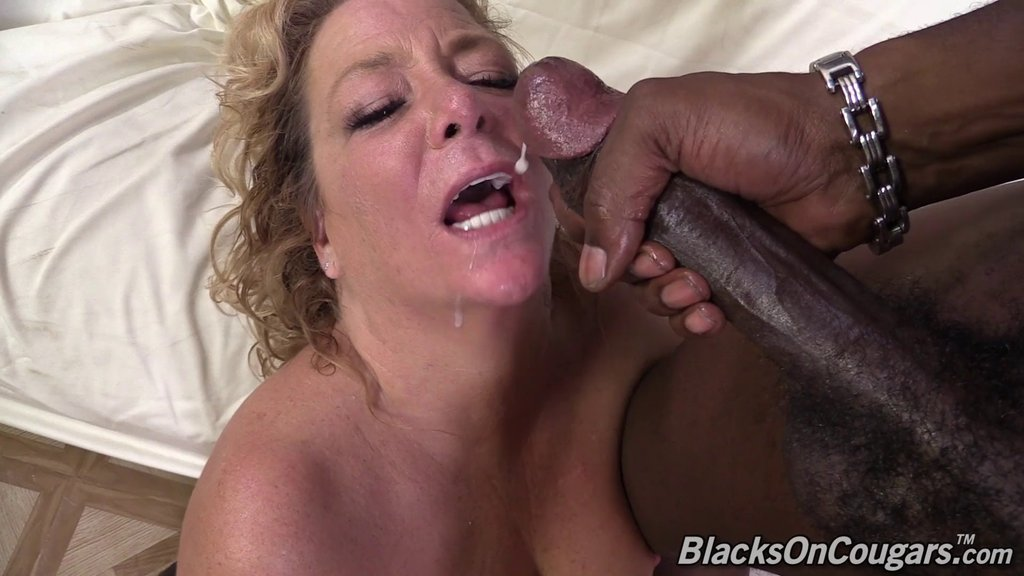 Mature Blonde With Big Tits Gets Her Shaved Pussy Jammed By Big Black Cock