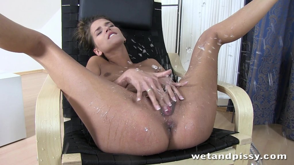 Slender Model With Small Tits Squirting While Masturbating