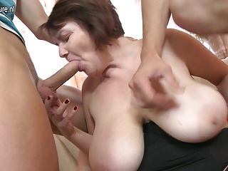 Mother fucked by two lucky not her sons