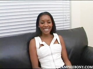 Super Super hot Ebony Teen Kim Brown got cum in her Virgina