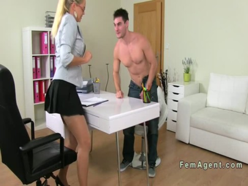 Blonde female agent fucking pov on the couch