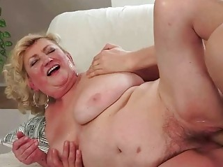 Young man fucks hairy fat granny
