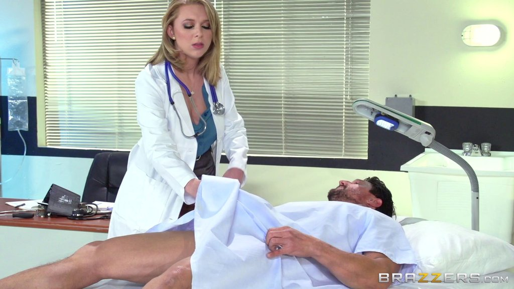 Naughty Nurse With Long Blonde Hair Getting Her Asshole Fingered