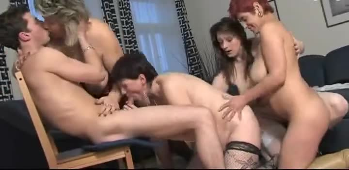 Four Mature Sluts Share Some Guy's Cock After A Party
